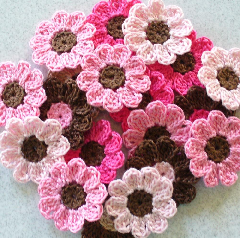Handmade Crochet Flowers, Appliques, Embellishments, Pink, Brown - set of 21