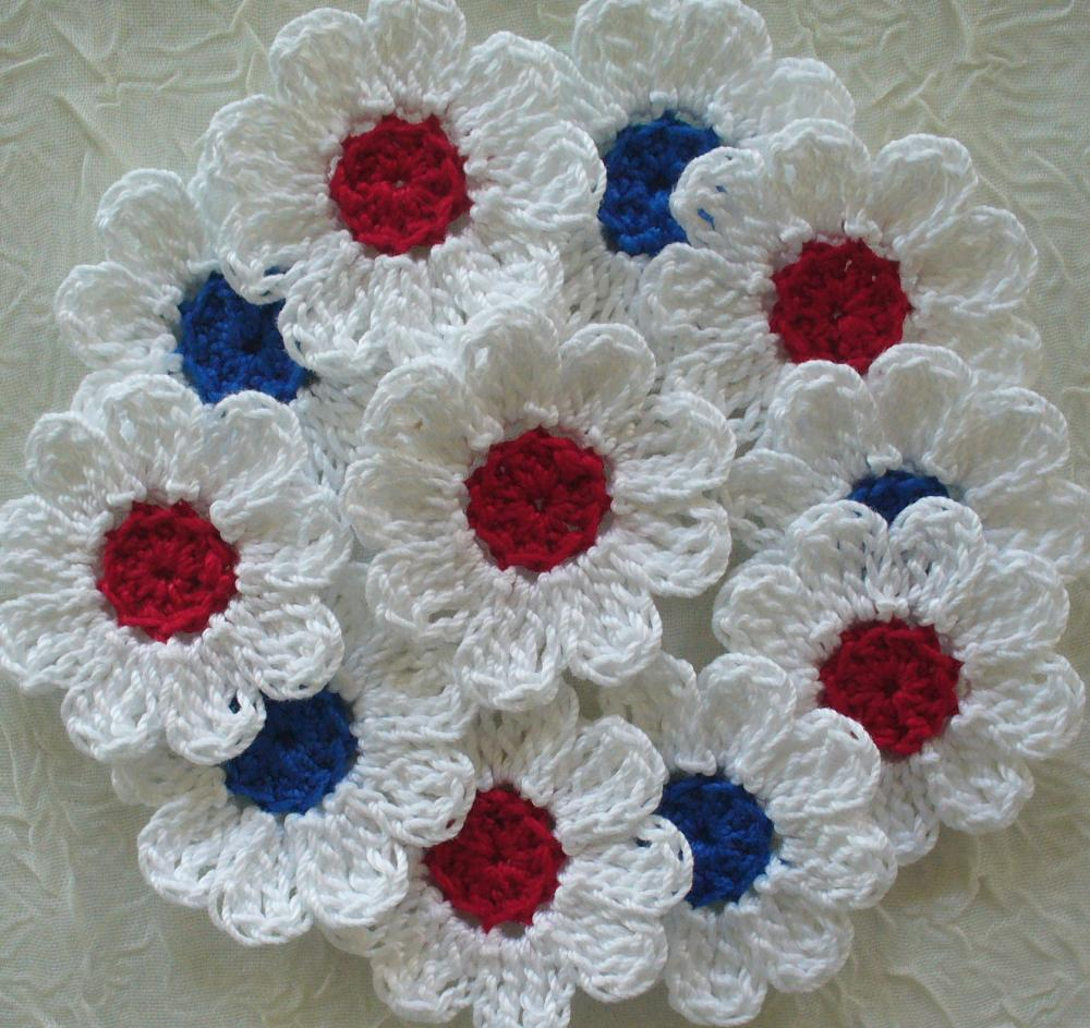 Red, White and Blue Crochet Daisy Flowers - set of 16 Appliques, Embellishments