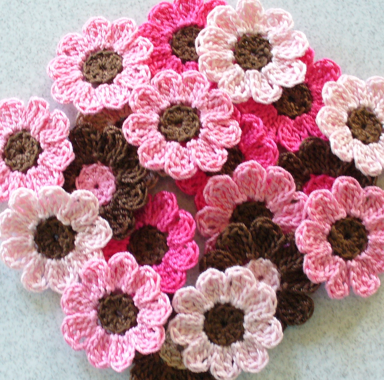 Handmade Crochet Flowers, Appliques, Embellishments, Pink, Brown - Set ...