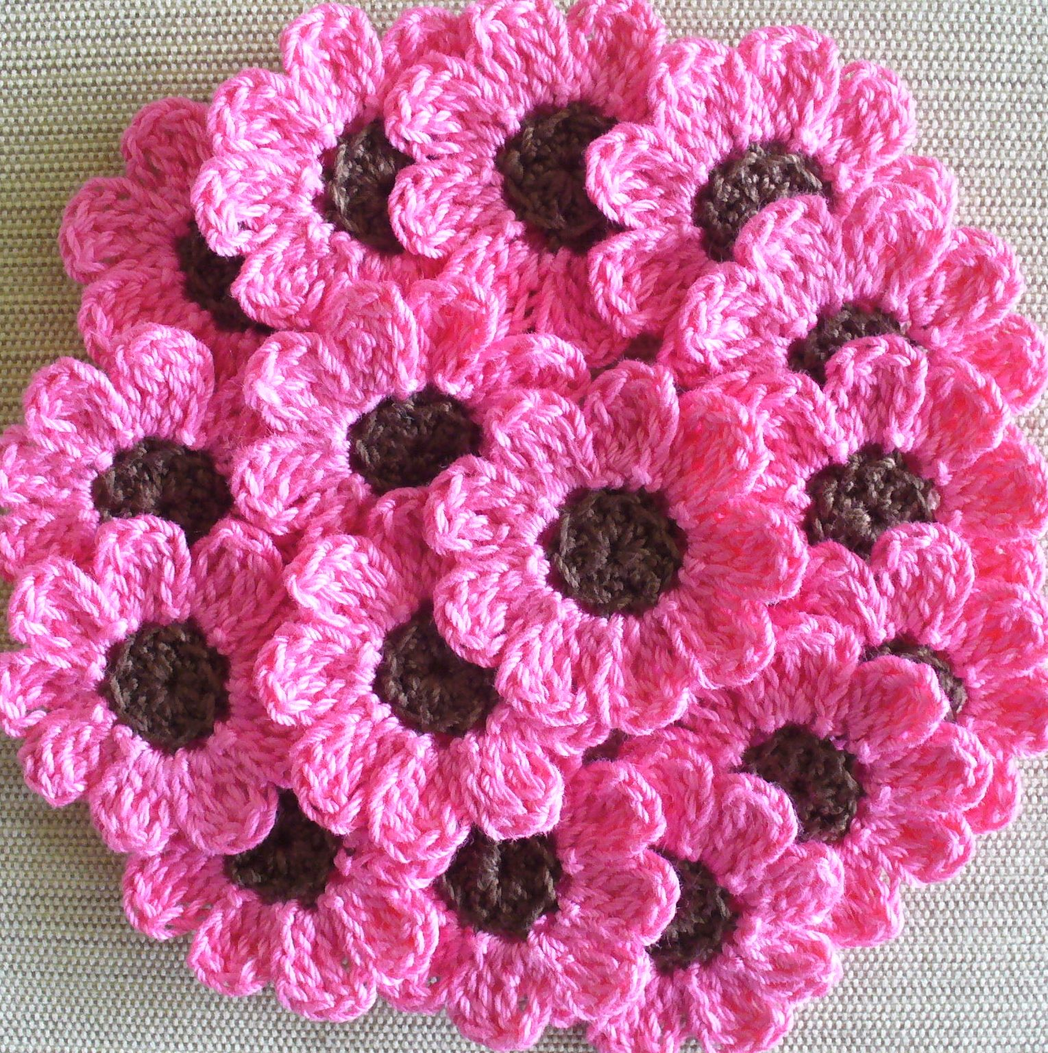 Crochet Patterns Of Flowers : Pink Crochet Flowers, Daisies, 16 Small Handmade Appliques, Candy Pink ...